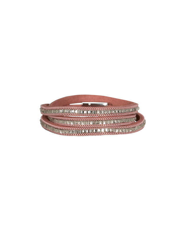 Crystal Faux Leather Wrap Bracelet, Pale Pink/Clear/Rhodium, hi-res