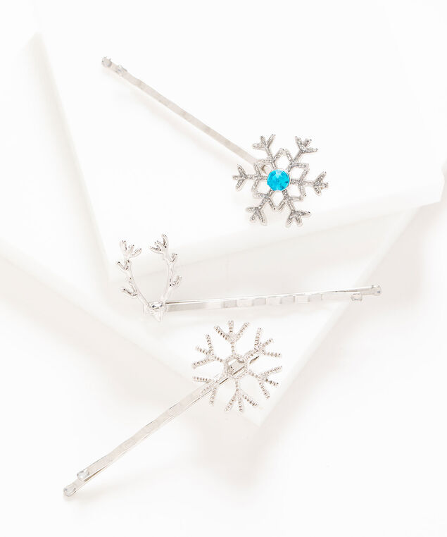 Winter Bobby Pin 3-Pack, Silver