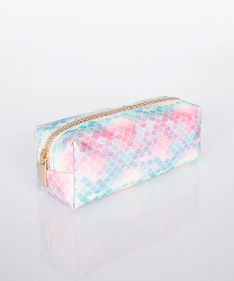 Mermaid Scale Cosmetic Pouch, Pink/Tropical Teal/Gold, hi-res