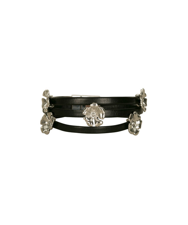 Stationed Flower Wrap Bracelet, Black/Rhodium, hi-res