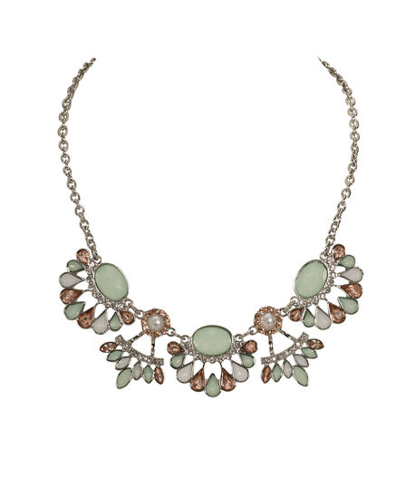 Pearl & Faceted Stone Statement Necklace, Mint/Pink/Rhodium, hi-res