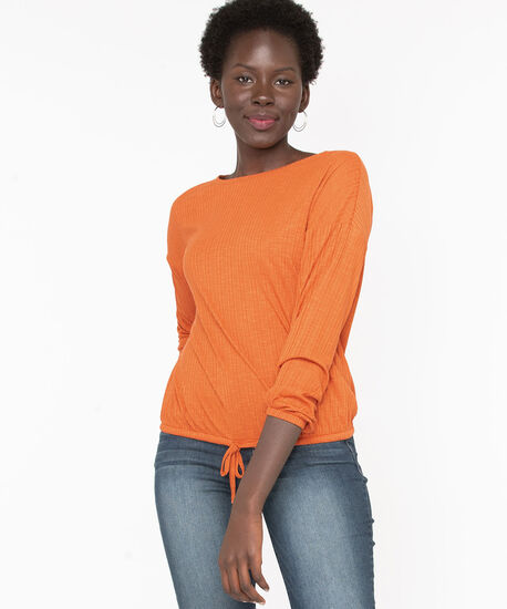 Textured Drawstring Waist Top, Pumpkin, hi-res