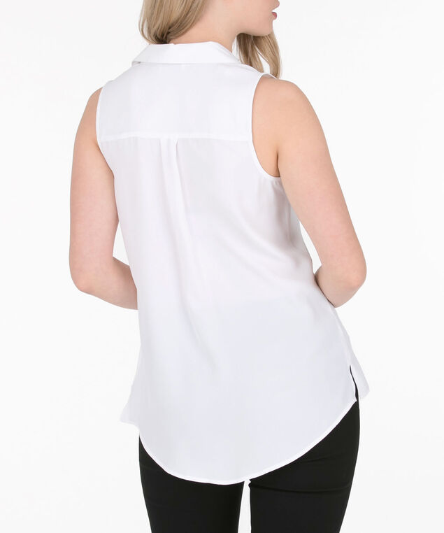 Sleeveless Button-Front Collared Shirt, True White, hi-res