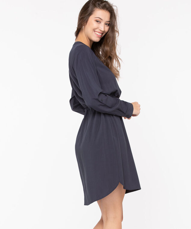 Roll Tab Sleeve Shirt Dress, Navy, hi-res