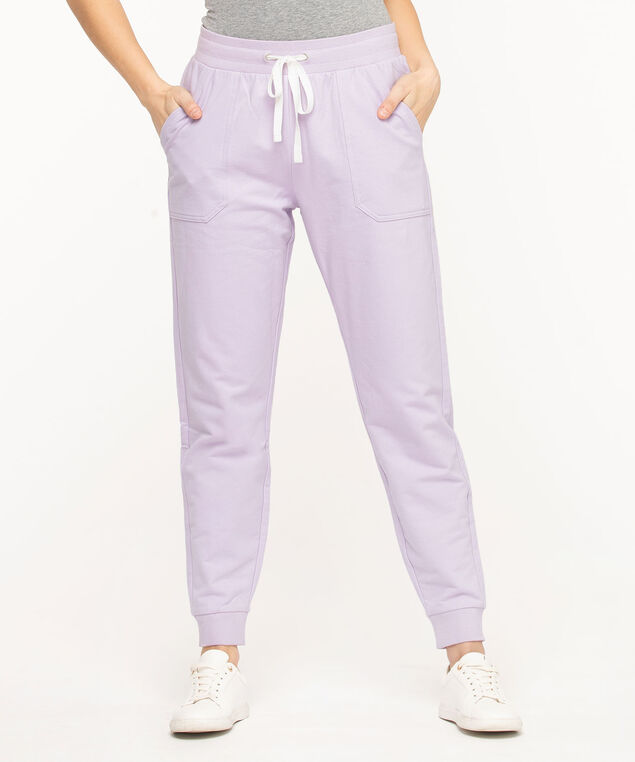 French Terry Drawstring Joggers, Orchid Petal