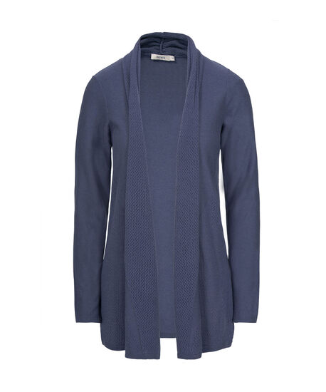 Perforated Knit Open Cardigan, Cloudy Blue, hi-res