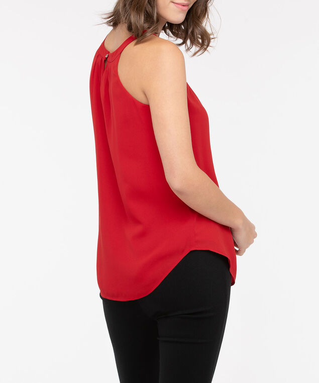 Layered Keyhole Halter Blouse, Crimson, hi-res