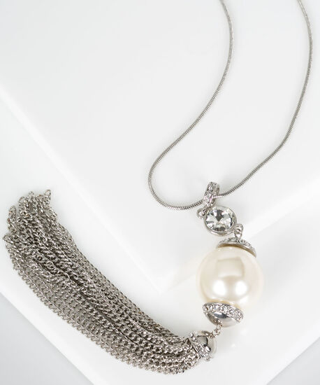 Oversized Pearl & Tassel Pendant Necklace, Pearl/Rhodium, hi-res