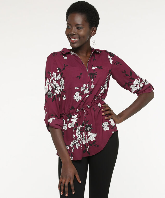 Floral Zip Front Tunic Blouse, Fig/Pearl/Black, hi-res