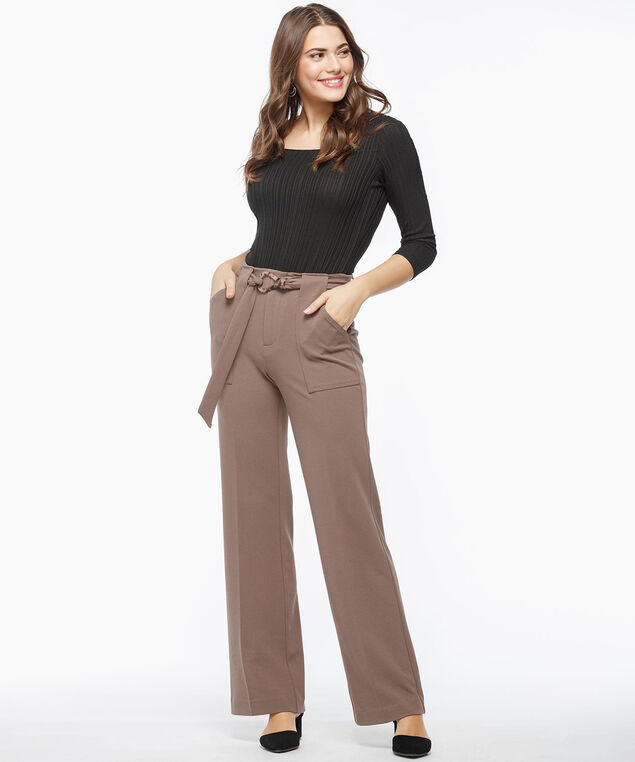 Belted Crepe Wide Leg Pant, Praline, hi-res
