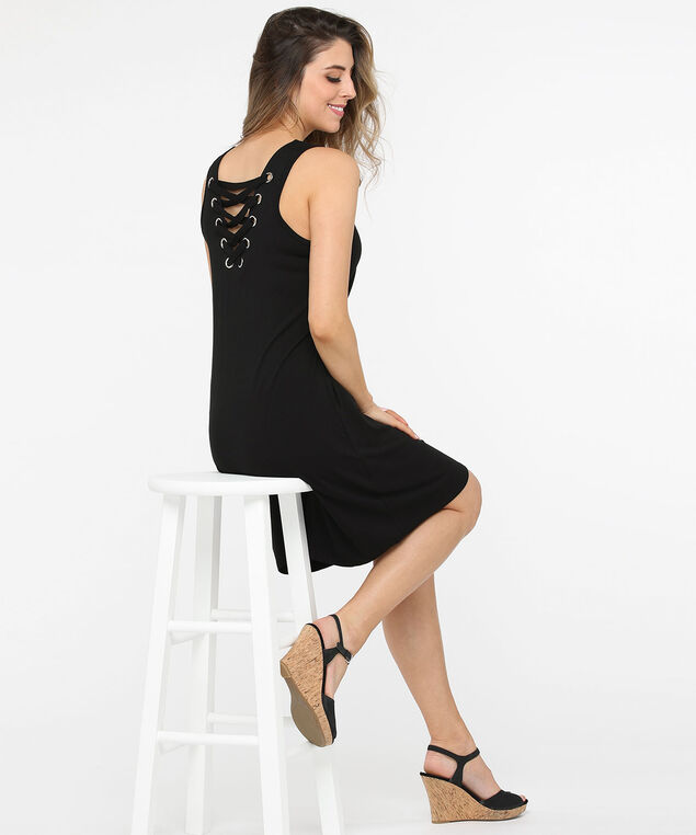 Sleeveless V-Neck Lace Up Detail Dress, Black, hi-res