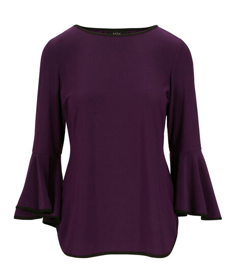 Tipped Flounce Sleeve Top, Blackberry/Black, hi-res