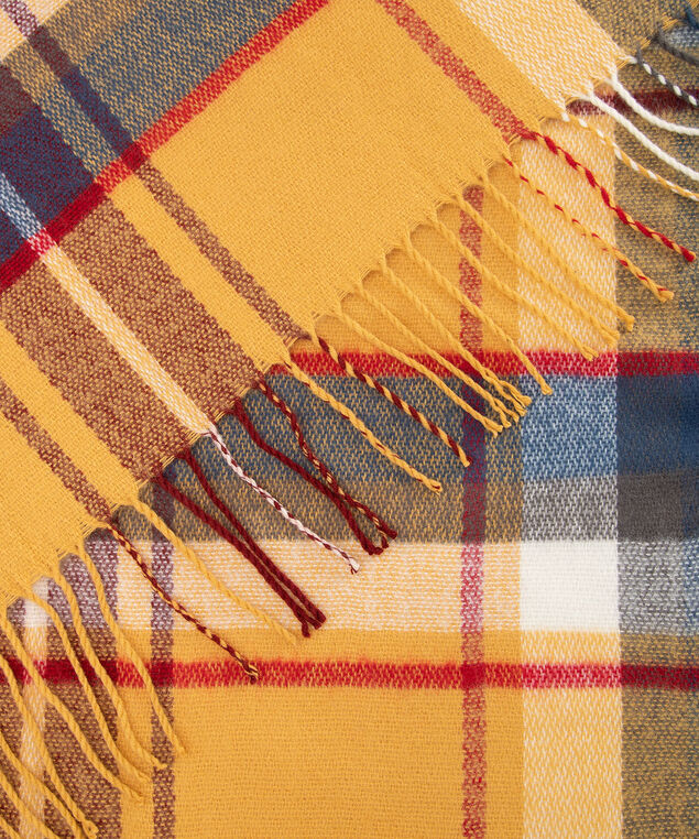 Fringe Plaid Blanket Scarf, Marigold/Steel Blue/Crimson, hi-res