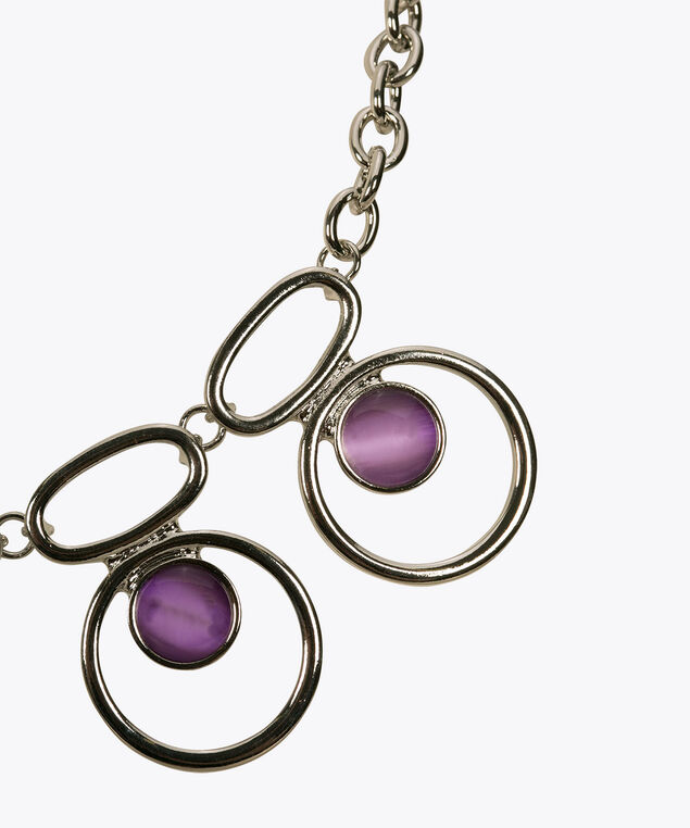O-Ring & Cateye Statement Necklace, Iced Violet/Rhodium, hi-res