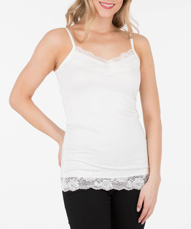 Lace-Trim Strappy Cami , White, hi-res