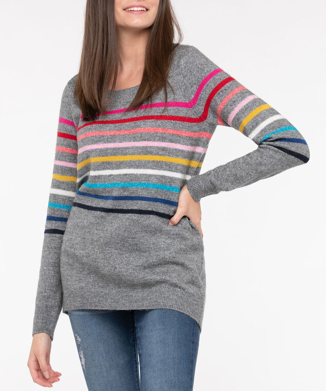 Rainbow Stripe Scoop Neck Sweater, Mid Heather Grey, hi-res
