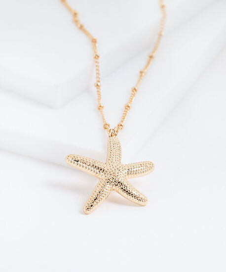 Long Starfish Necklace, Gold, hi-res