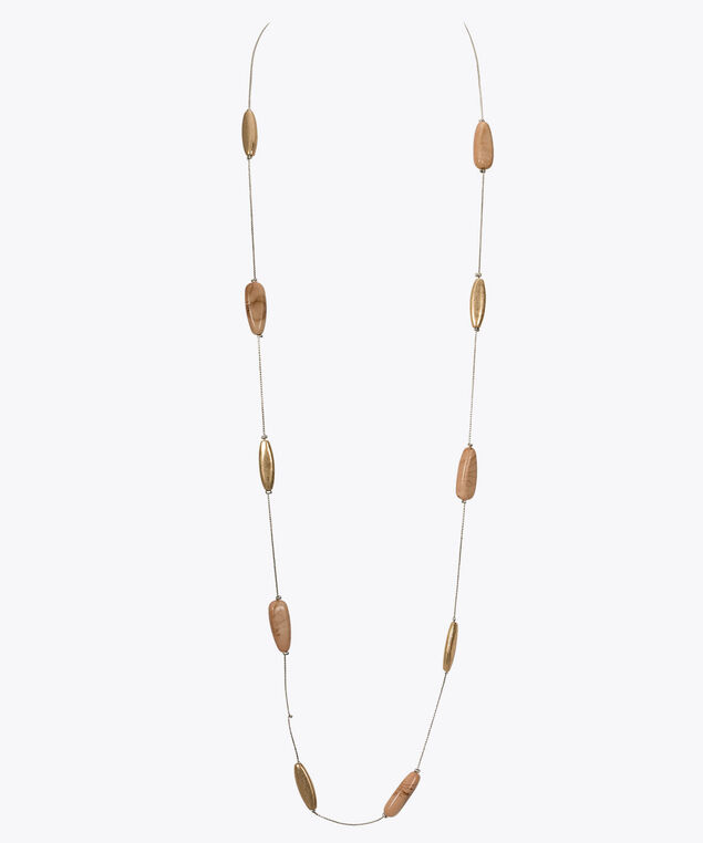Long Stationed Bead Necklace, Taupe/Rhodium/Gold, hi-res