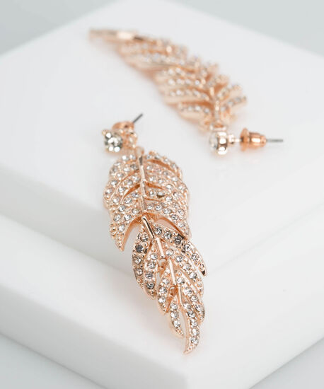 Crystal Feather Drop Earring, Rose Gold, hi-res