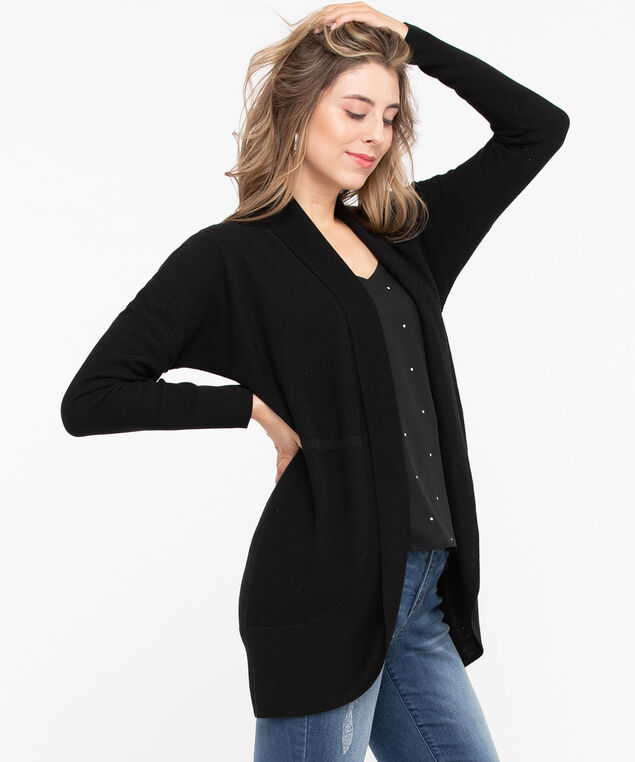 Long Sleeve Cocoon Cardigan, Black, hi-res