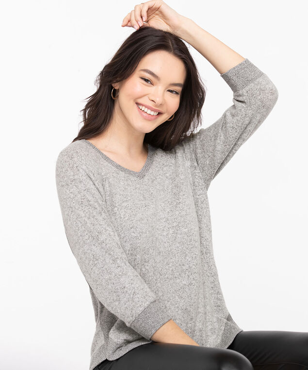Lightweight Knit Rib Trim Pullover, Light Grey Mix