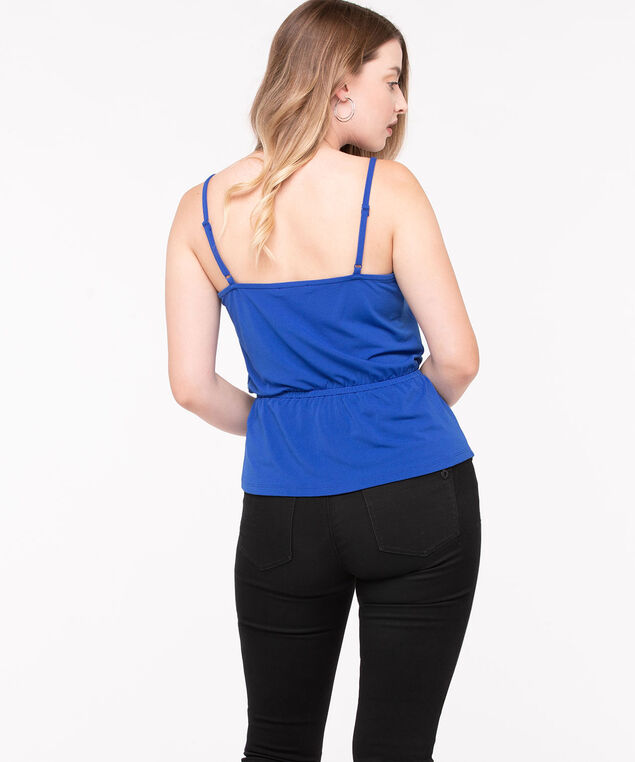 Strappy Tie Waist V-neck Top, Deep Sea Blue, hi-res