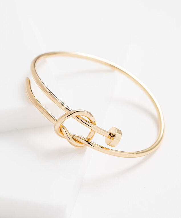 Knotted Metal Hoop Bracelet, Gold