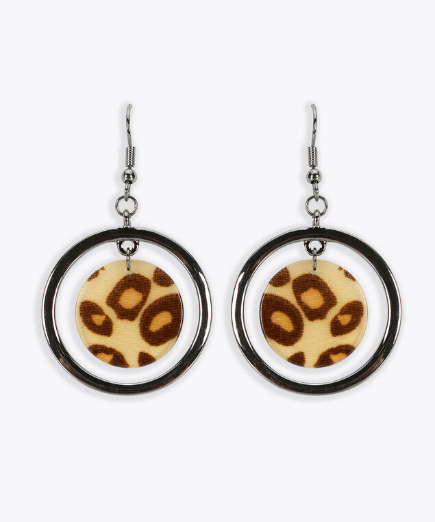 Leopard Print Resin Earring, Rhodium/Almond, hi-res