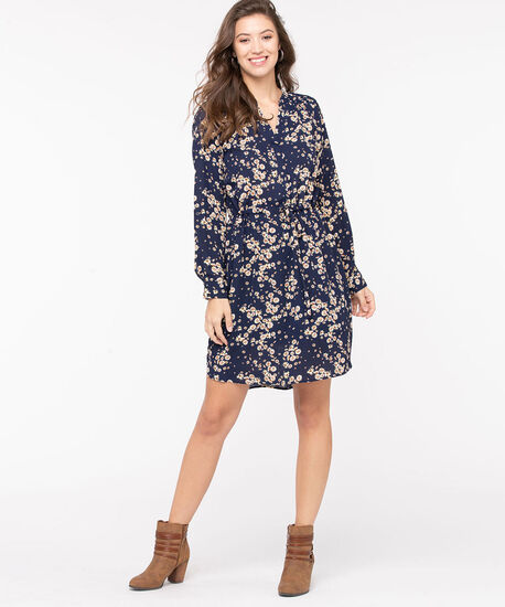 Floral Button Front Shirt Dress, Navy/Gold/Ivory, hi-res