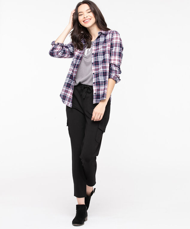Plaid Cotton Flannel Blouse, Peacoat/Windsor Wine, hi-res