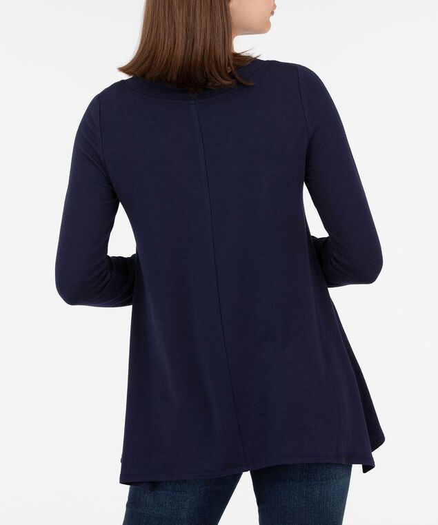 V-Neck Long Sleeve Pullover, Summer Navy, hi-res