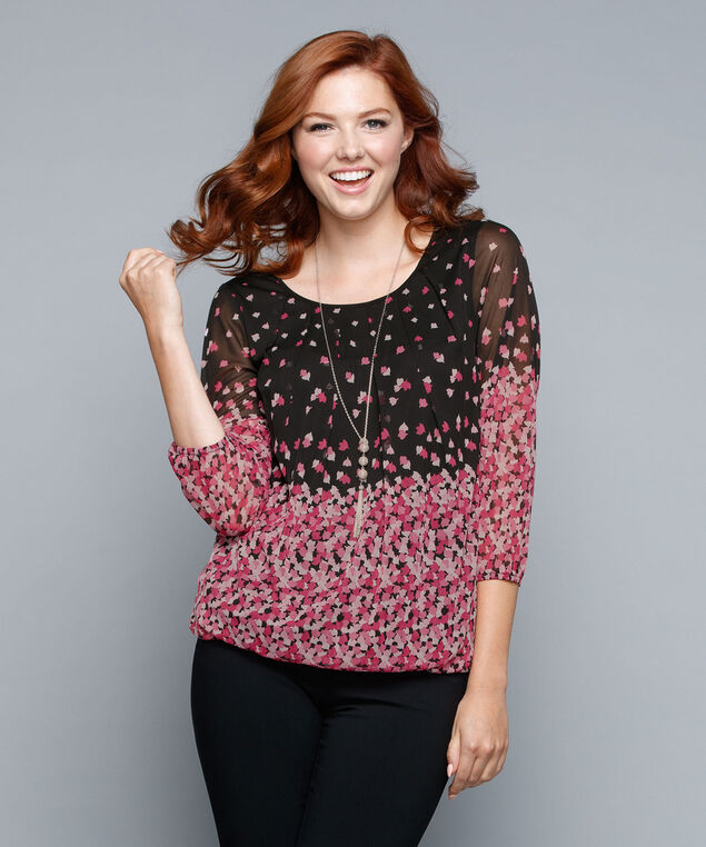 Mesh Print Bubble Top, Black/Pink Print, hi-res
