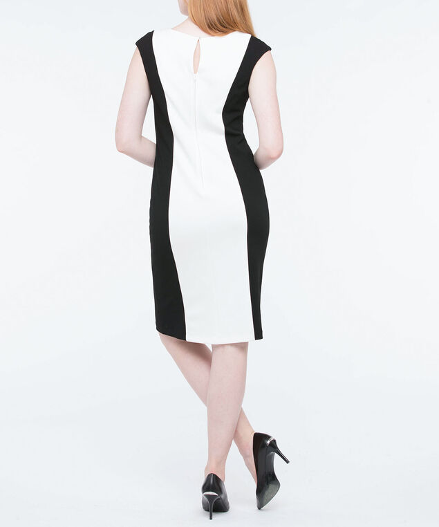 Sleeveless Colourblock Sheath Dress, Black/Pearl/Gold, hi-res