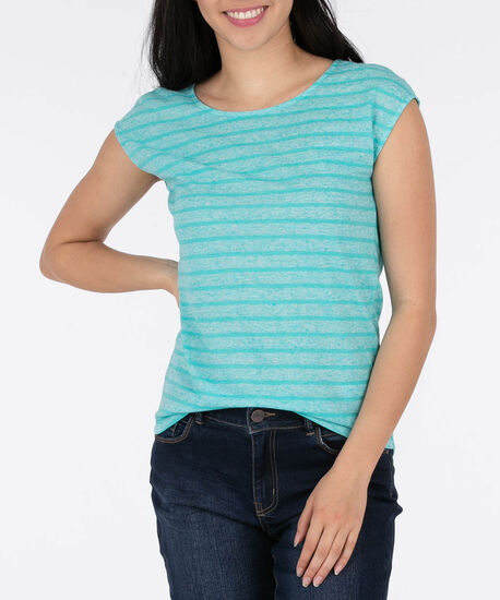 Extended Sleeve Linen Blend Top, Aqua, hi-res