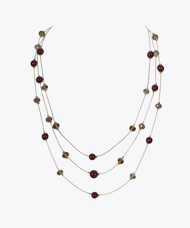 Stationed Bead Multi-Strand Necklace, Black Cherry/Rhodium, hi-res