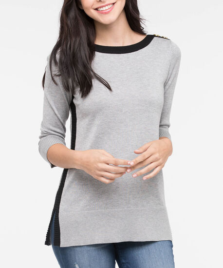 Gold Button Contrast Trim Sweater, Black/Mid Heather Grey, hi-res
