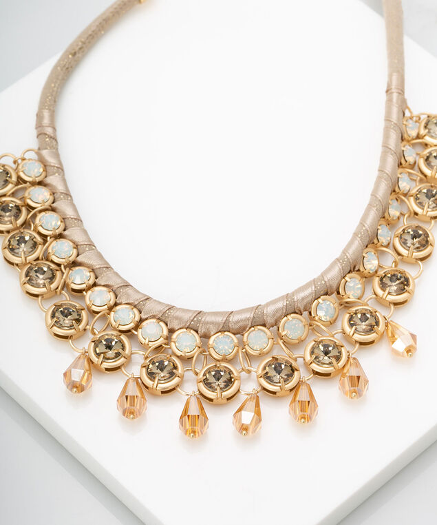 Faceted Stone Statement Necklace , Gold