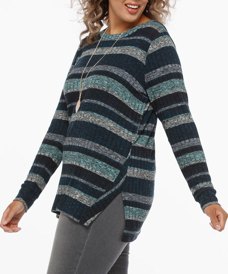 Long Sleeve Ribbed Lightweight Knit Top, Steel Blue/Mint/Grey, hi-res