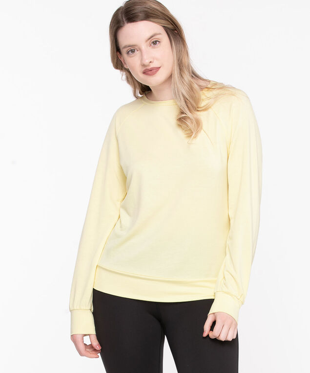 Long Sleeve Crew Neck Pullover, Yellow
