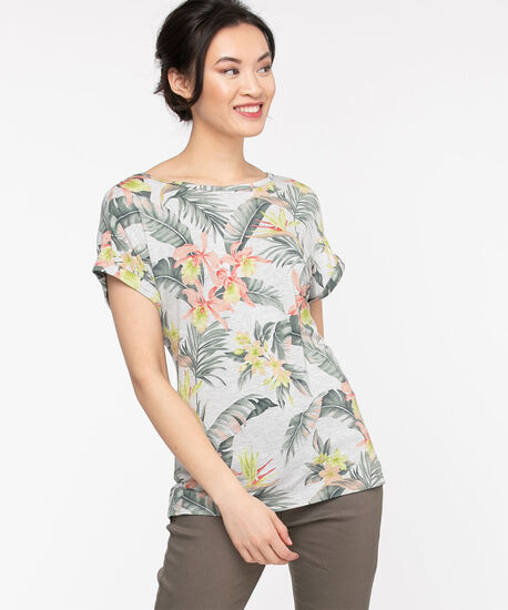 Extended Sleeve Woven Top, Tropical Print, hi-res