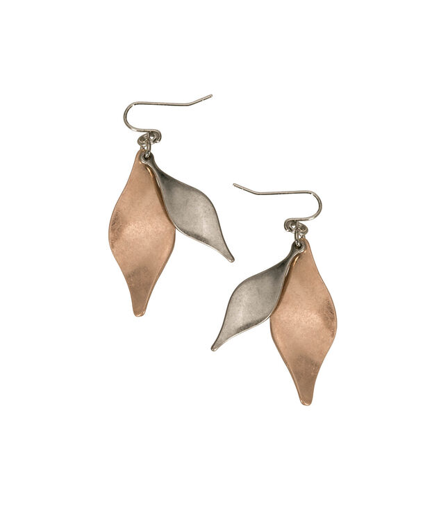 Brushed Mixed Metal Drop Earrings, Rhodium/Rose Gold, hi-res