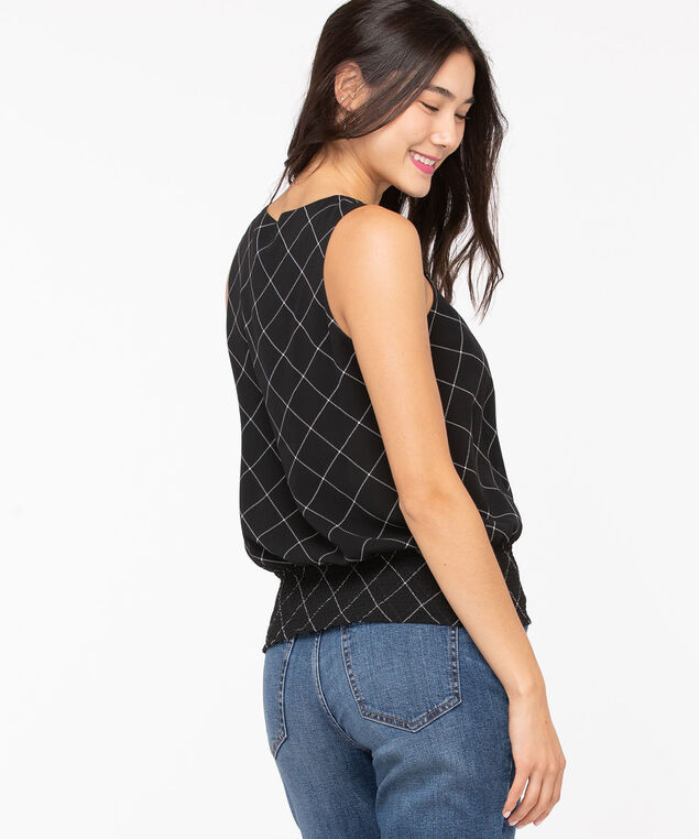 Sleeveless V-Neck Smocked Blouse, Black/Pearl, hi-res
