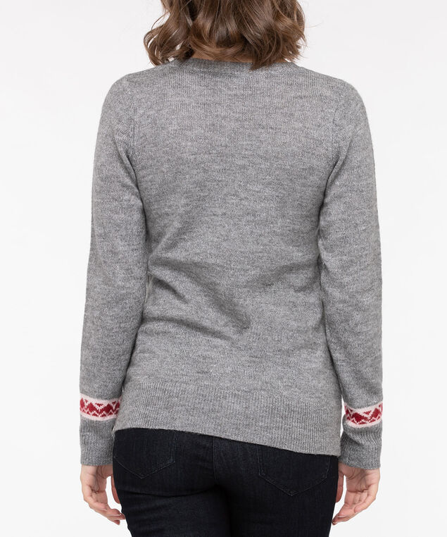Polar Bear Intarsia Sweater, Mid Heather Grey/Pearl/Crimson, hi-res