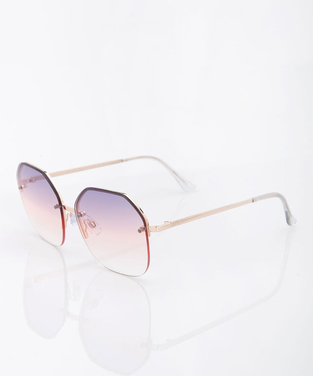 Hexagon Frameless Sunglasses, Petal Pink/Gold, hi-res