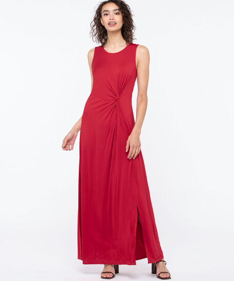SLEEVELESS KNOT FRONT MAXI DRESS, Red, hi-res