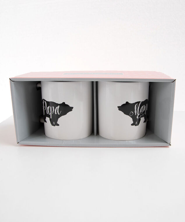 MAMA PAPA BEAR BOXED MUG SET, Pearl/Black, hi-res