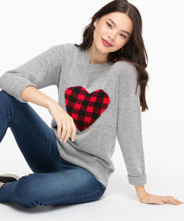 Buffalo Check Heart Sweater, Light Grey/Black/Red