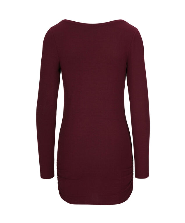 Ruched Layering Essential Top, Wine, hi-res
