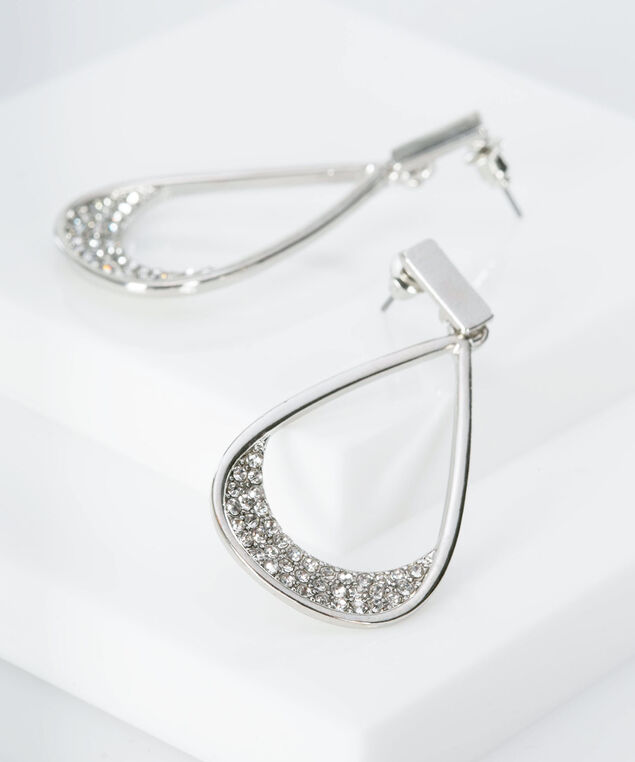 Crystal Studded Teardrop Earring, Rhodium, hi-res
