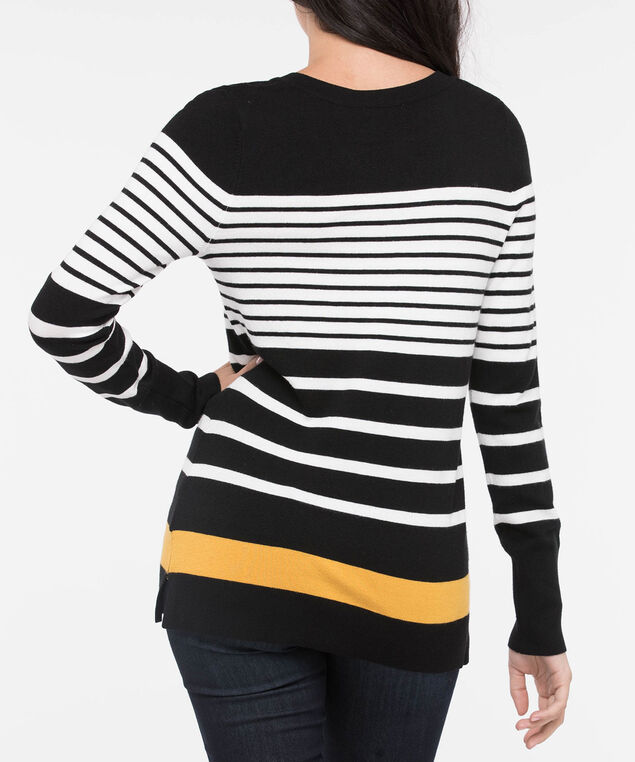 Striped V-Neck Pullover Sweater, Black/Mustard/Pearl, hi-res